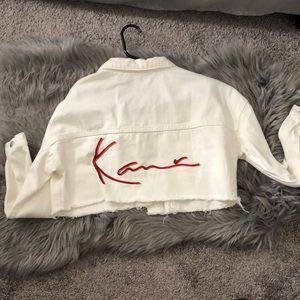 Karl Kani White Denim Cut off Jacket